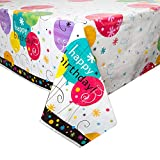 Unique Party 28943 - Plastic Breezy Birthday Tablecloth, 7ft x 4.5ft
