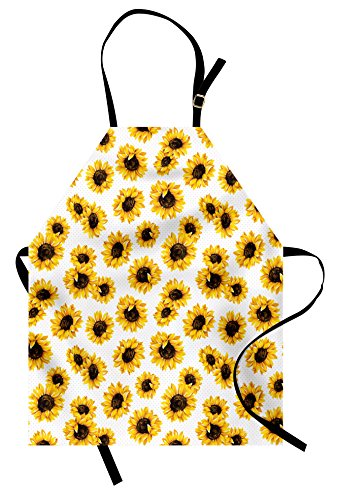 Sunflower Apron - Lunarable Sunflower Apron, Sunflower Flowers on Polkadots Feminine Fresh Garden Fall Season Art, Unisex Kitchen Bib Apron with Adjustable Neck for Cooking Baking Gardening, Earth Yellow Seal Brown
