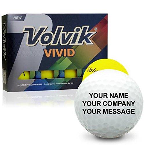 Volvik Vivid Matte Yellow Personalized Golf Balls (Personalized Matte)