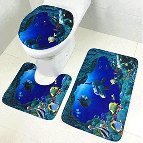 Moon mood Bathroom Mats Set, 3-Pieces Bathroom Rugs and Mats Polyester Non-slip Shower Lid Mat Sets Including Bath Pad (75x45cm) + U-shaped Pedestal Mat (40x45cm) + Toilet Seat Cover (40x45cm)