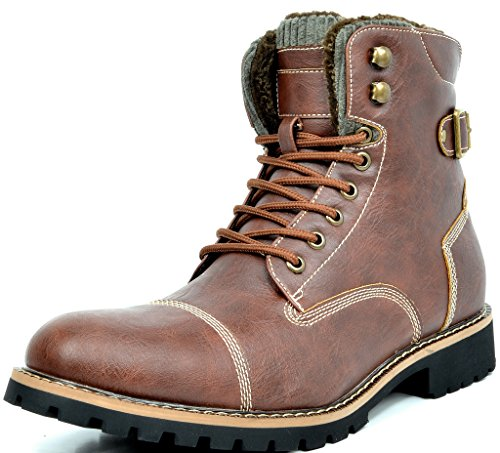BRUNO MARC TORONTO-1 Men's Classic Original Faux Leather Lace Up Cap Toe Military Combat Work Desert Ankle Boot