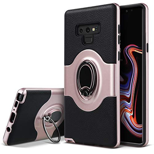 Galaxy Note 9 Case, Note 9 Ring Case, Dairnim [Shockproof Anti-Scratch] Kickstand Support Magnetic Car Mount Holder Dual Layer Bumper Protection Case Compatible with Samsung Galaxy Note 9, Rose Gold