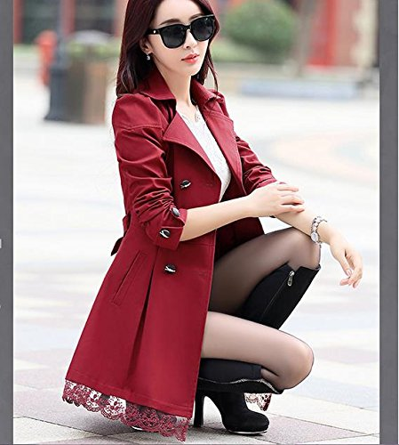 Lingswallow Women's Elegant Double Breasted Lace Hem Trench Coat Jacket Red by Lingswallow (Image #4)
