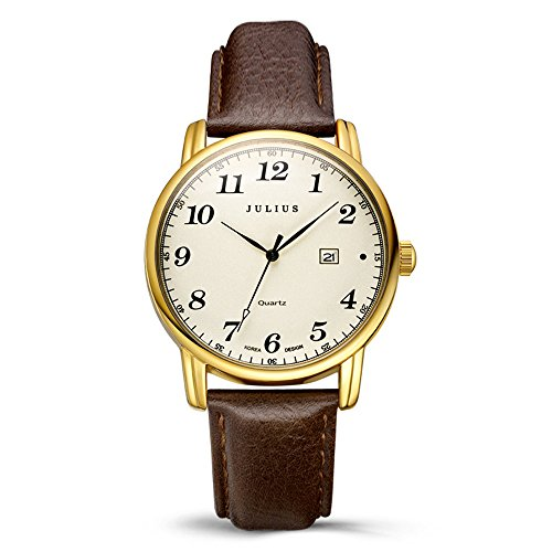 Julius JA-508 Male Gold Tone Arabic Numeral Quartz Analogue Display Fashion Casual Calendar Wrist Watch Men's Business Dress Waterproof Wristwatch