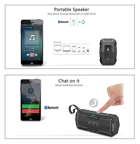 SoundFit Plus Water-Resistant Bluetooth Speaker - Portable Outdoor Wireless Sound System - Features Powerful Bass and Clear Treble - Hands-Free with Built-in Microphone - Dust and Shock Resistant by AYL (Image #6)