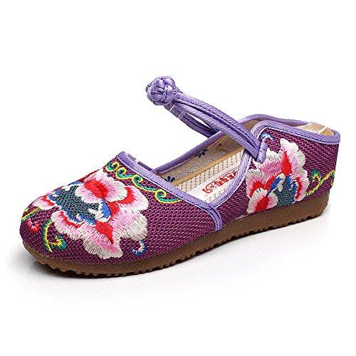 KIKIGOAL El Lino Bordó el Viento Nacional Bordó los Zapatos, Las Mujeres Refrescan las Zapatillas Púrpura