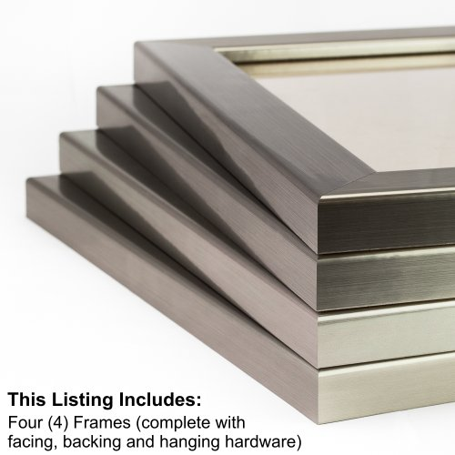 Craig Frames 26966 8 by 10-Inch Picture Frame 4-Piece Set, Smooth Wrap Finish, 1.25-Inch Wide, Stainless - Brushed Frame Metal