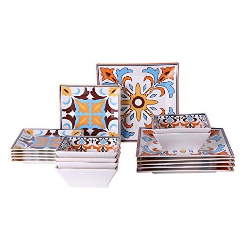 Chin-Chin JL Porcelain Square Dinnerware sets, Service for 6 (18 pcs), Bohemian Vibrant Orange (Square Dinnerware Set)