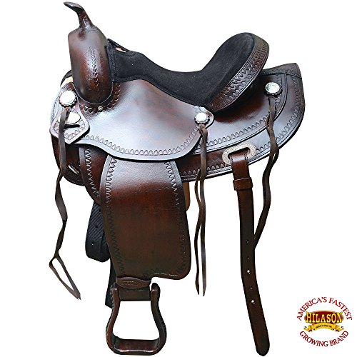 HILASON 15″ Western Horse Saddle American Leather Treeless Trail Pleasure O108