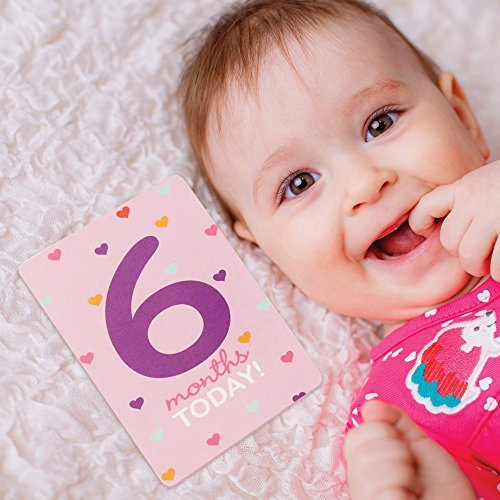 - Rising Star Baby Girls Milestone Photo Prop Cards, Age 0-12M, 12 Cards Gift Set