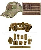 Cap MultiCam + USA FLAG COYOTE LEFT + Tan Duty Belt Holster