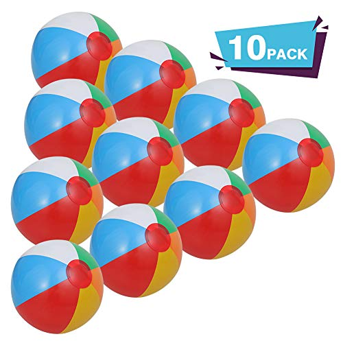 ThinkMax Inflatable Beach Balls, 10 Pack Rainbow Pool