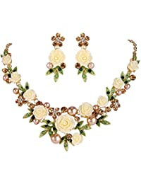 Women's Austrian Crystal Simulated Pearl Rose Flower Leaf Necklace Earrings Set