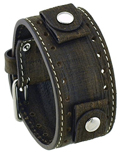 Rev #GS-TM Golden Sahara Groot Pattern Moro Brown Wide Leather Cuff Watch Band (Italian Stone Tm Ladies)