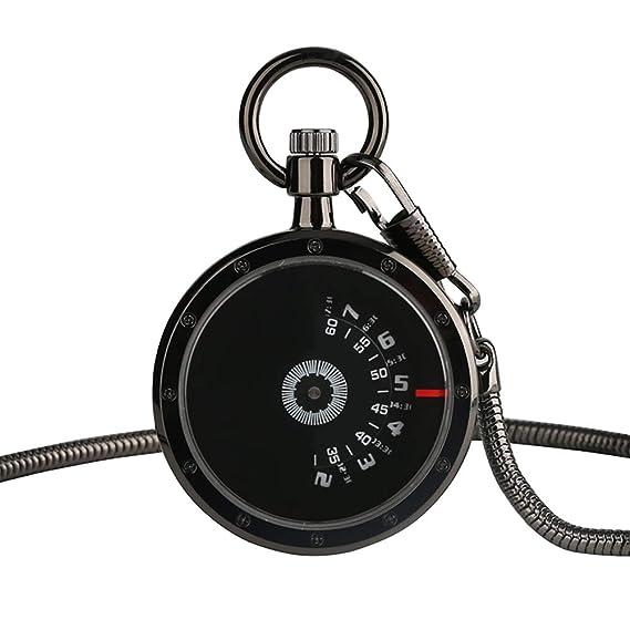 Reloj de Bolsillo Retro para Hombre, Reloj de Bolsillo de Cuarzo Vintage, diseño de Tocadiscos único con Cadena de Regalo para Hombres: Amazon.es: Relojes