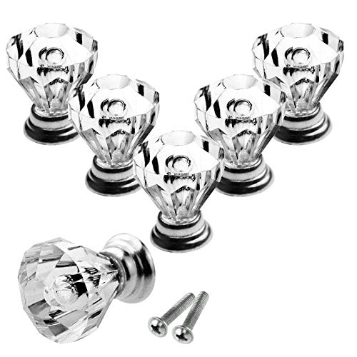 (8X Crystal Glass Door Knobs Clear Diamond Pull Handle for Drawer Cabinet w/Screw )