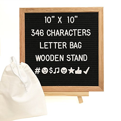 Changeable Black Felt Letter Board 10x10 Inches. Oak Frame Includes 346 White Plastic Characters, Letters & Emojis, Letter Bag, Wooden Stand, Wall Mount by Never Felt Better