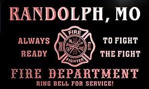 qy59973-r FIRE DEPT RANDOLPH, MO MISSOURI Firefighter Neon Sign