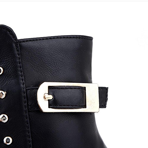 desgaste goma y bajas Women de XIAOGANG Amarillo hebilla HFour H botas de altas Seasons antideslizante marrón cinturón negro remache botas 37 yellow CwxqHTOfw