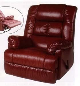 Amazon.com: Swivel Rocker Recliner Burgundy Leather ...