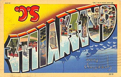(Greenville South Carolina Large Letter Linen Antique Postcard K50080)