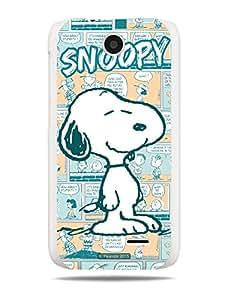 GRÜV Premium Case - 'Peanuts Snoopy Comic Strip' Design - Best Quality Designer Print on White Hard Cover - for HTC Desire 310
