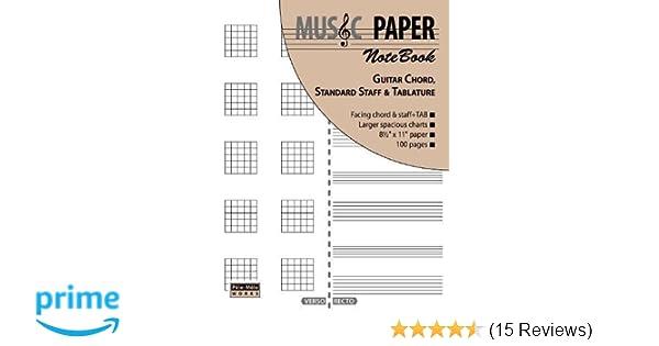 Amazon.com: MUSIC PAPER NoteBook - Guitar Chord, Standard Staff ...