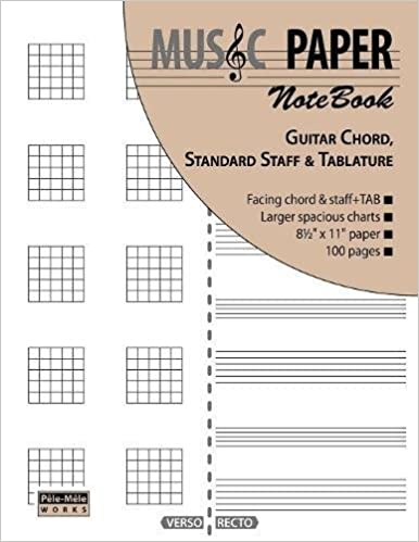 Amazon.com: MUSIC PAPER NoteBook - Guitar Chord, Standard Staff ...