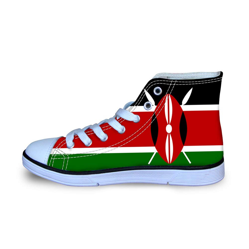 Canvas High Top Sneaker Casual Skate Shoe Boys Girls Kenya Flag