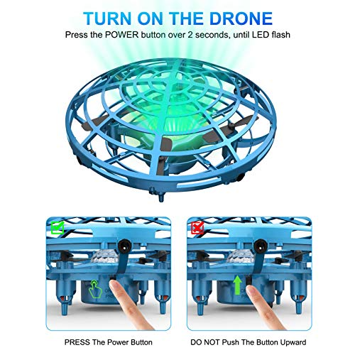 UFO Drone for Kids or Adults, Hands Free Mini Drone, Easy Indoor Small UFO Flying Drone Toys for 6, 7, 8, 9, 10, 11,12 Boys and Girls(Blue).