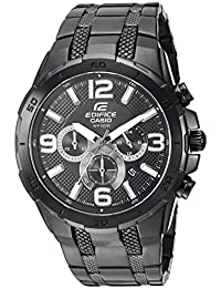 Mens Edifice Quartz Stainless-Steel-Plated Casual Watch, Color:Black