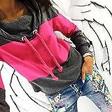 NEW! Sweatshirt,ZYooh Women Patchwork Long Sleeve Funnel Neck Sweatshirt Blouse Tops (L, Hot Pink)