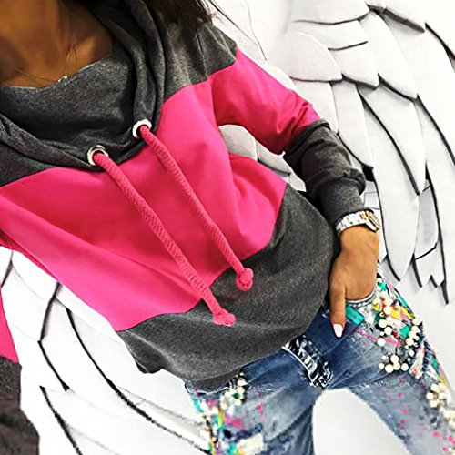 NEW! Sweatshirt,ZYooh Women Patchwork Long Sleeve Funnel Neck Sweatshirt Blouse Tops (L, Hot Pink) by iLH®