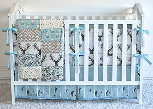 Antlers in Aspen Crib Bedding, antlers, deer, fawn, sheet, quilt , skirt by M&G Baby Glam