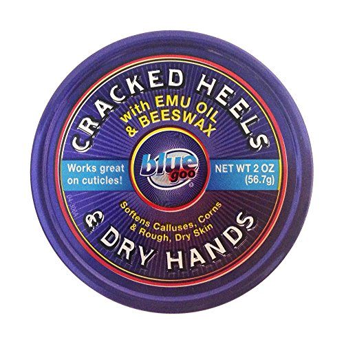 BLUE GOO Cracked Heels & Dry Hands Skin Softener for Dry Feet, Hands, Hydrating and Smoothing, Moisturizer, Dryness Relief, 2 Ounce, Made with 100% Pure EMU Oil