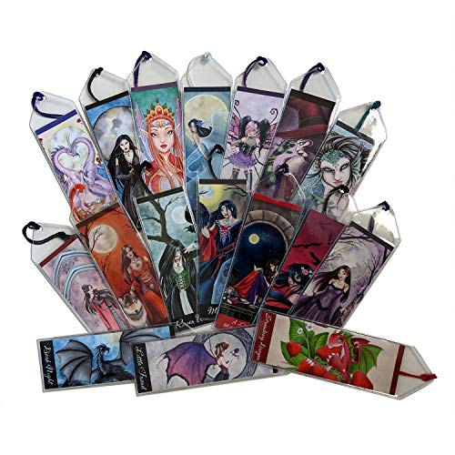Personalized Red Witch with Black Cat Fantasy Art Bookmark in Vinyl Sleeve