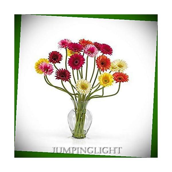 JumpingLight 1086-AS Gerber Daisy Liquid Illusion Silk Flower Arrangement Artificial Flowers Wedding Party Centerpieces Arrangements Bouquets Supplies