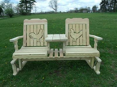 5 Foot Pressure Treated Pine Designs Outdoor Rooster and Hen Cutout Settee Glider