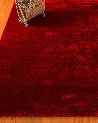Natural Area Rugs Merida Collection 8 Feet by 10 Feet Handmade Polyester Shag Rug, Ruby Red (8' x - Red Shag Carpet