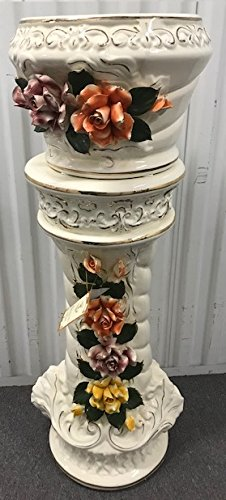 "Imperial Capodimonte Style Ceramic Pedestal Set with Multi-colored Flowers 38"" - White"