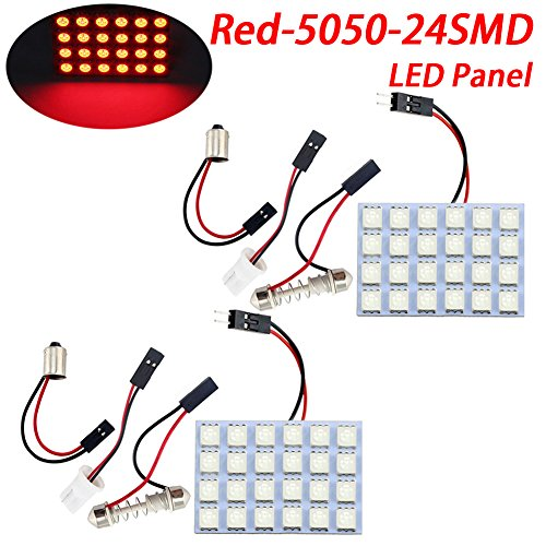 TABEN Red 3th Generation Energy-saving 5050 24-SMD LED Panel Dome Light Auto Car Interior Reading Plate Lamp Roof Ceiling Interior Bulb With T10 / BA9S / Festoon Adapters (DC-12V) (Pack of 2)