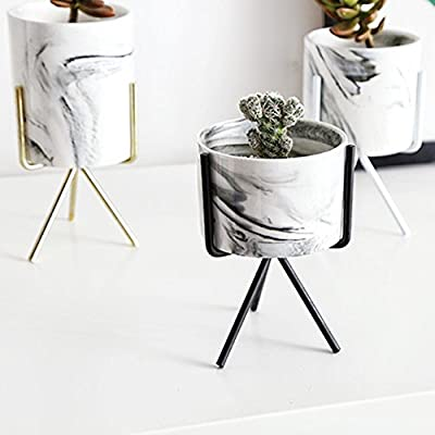 Topaty Iron Shelf Marble Succulent Plant Pot Cactus Pots Ceramic Pot Concrete Planters Modern Home Decor for Garden Decor (Blcak, M) : Garden & Outdoor