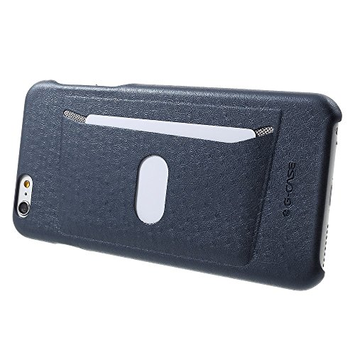G-CASE für iPhone 6s 6 Ostrich Texture Leather Coated PC Card Holder Tasche Hüllen Schutzhülle - Case - Dark Blue
