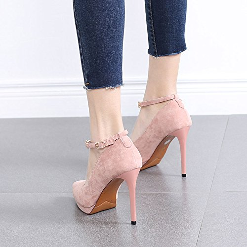 Work 5Cm High Lady 34 Word Heels 10 One Fine Leisure Women'S Buckle Platform Shoe Heel Pink Mouth Shoes MDRW Shallow Elegant Waterproof Single Spring gY4xqEEd