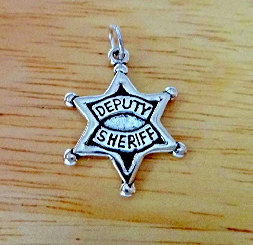- Sterling Silver 23x17mm Deputy Sheriff Star Badge Charm Jewelry Making Supply, Pendant, Sterling Charm, Bracelet, Beads, DIY Crafting and Other by Wholesale Charms