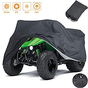 Indeedbuy Waterproof ATV Cover, 420D Heavy Duty Ripstop Material Black Protects 4 Wheeler from Snow Rain or Sun,102…