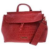Carlos Falchi Womens Raquel Faux Leather Embossed Satchel Handbag