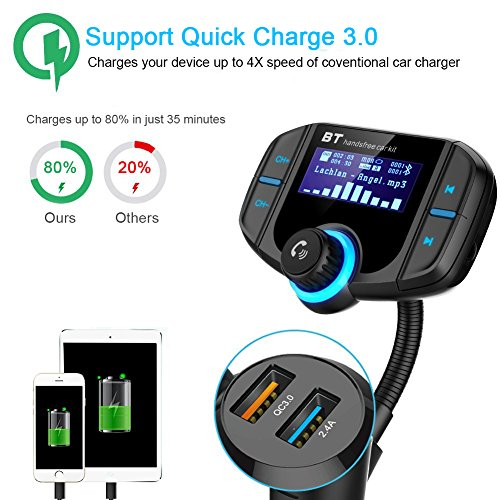 Bluetooth FM Transmitter with QC 3.0, LUMAND Wireless in-Car Radio Adapter Hands Free Car Kit with 1.7 inch Display and Dual USB Car Charger AUX Input TF Card Slot by LUMAND (Image #1)