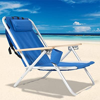 Best Choice Products Backpack Beach Chair Folding Portable Chair Blue Solid Construction Camping New
