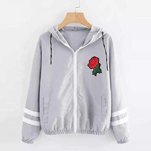 VECDY Chaquetas Ligeras con Bordado de Rosas Chaquetas de Mujer ...